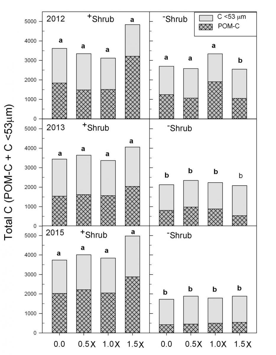 Total Carbon over four fertilizer rates at harvest.
